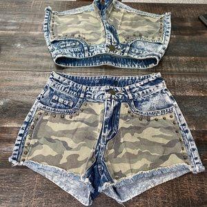 Vintage Studded Camo Acid Wash Shorts